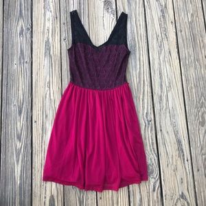 Magenta Lace Tank Dress